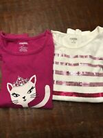 Gymboree Girls Shirts Sz 8 (LOT of 2) Pink White Sequins Cat Long Sleeve Cotton