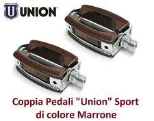 0237 - Coppia Pedali Union Vintage Sport Marrone per Bici 26-28 Fixed Scatto Fis