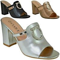 Ladies Womens Anita Evening Slip On High Heel Mule Block Buckle Sandals Shoes