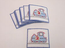 Set of 10 Embroidered 2nd Birthday Boys Train Card Making Motifs Patches #38B125