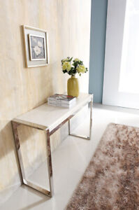 Dara Mirror Stainless Steel Console With White Marble Top (pick up only plz)