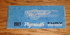 Original 1967 Plymouth Fury Owners Operators Manual 67