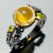 Handmade Natural Cat's Eye Apatite 925 Sterling Silver Ring Size 6/R122791