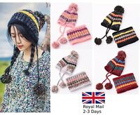 Ladies Knitted Pom Pom Beanie with Neck Warmer Winter Bobble Warm Woolly Hat