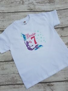 Mermaid Birthday Age T-Shirt Personalised Tshirt Top Any Name age 7-8 Party