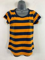 WOMENS LEE COOPER BLUE & YELLOW SHORT SLEEVED ROUND NECK CASUAL TOP SIZE 12