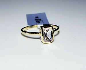 Elegant 9K Yellow Gold Cushion Cut Morganite Ring Size 9/ Anillo de Oro