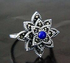 Turkish 925 Sterling Silver Women Ring Lapis Lazuli Gemstone Marcasite