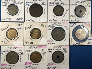 Lot of 11 Different Egypt Coins (1885 - 1893) ~ including Silver 25 Piastres