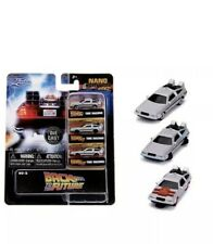 "JADA NANO 1.65"" BACK TO THE FUTURE TIME MACHINE DELOREAN BTTF 3 PACK CAR 31583"