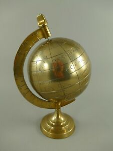 9977614 Kleiner Globus  Weltkugel Aluminium bronziert Dekoration