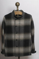 Stephan Schneider collarless button front grey plaid wool flannel shirt jackt