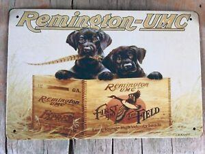 Remington UMC  Express Ammo firearm Guns Black Lab Hunting Rustic metal tin sign