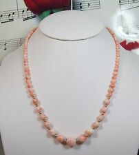 Genuine Natural Pink Coral Necklace With 14K GF Clasp. Graduated. MCR005