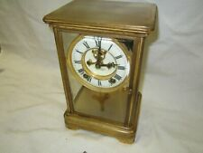 Antique Ansonia 8 Day Chiming Crystal Regulator Mantle Shelf Clock Runs Well