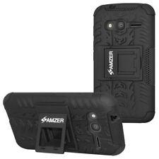 Amzer Híbrido Guerrero Case-Negro/negro para Alcatel OneTouch Pixi 4 4 in (approx. 10.16 cm)