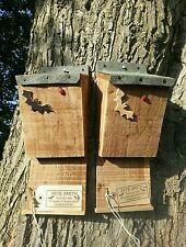 BAT BOX X2 nidificazione Appollaiarsi, quality handmade item con tetto di feltro ^●^ ^●^