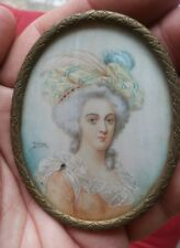 Antique Miniature Portrait Painting Pretty Lady Signed