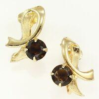 VINTAGE Goldtone Modernist Swoop Brown Rhinestone CLIP ON EARRINGS Non-Pierced
