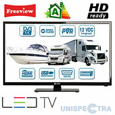 "MOTORHOME CARAVAN BOAT 12V 20"" Inch HD LED Digital Freeview TV 12 Volt USB PVR"