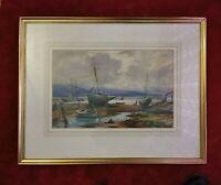 Large Vintage Original Painting . Pwllheli Maritime, Beachscene.Watercolour.