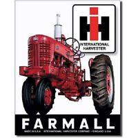 Farmall 400 IH Tractor Farm Equipment Logo Retro Vintage Metal Tin Sign
