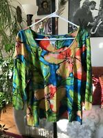 CHICO'S sz 2 / L Orange Blue Green & Yellow Floral Stretch Jersey 3/4 Sleeve Top