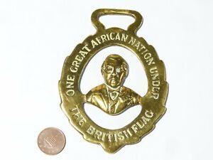 19thC Boer War JOSEPH CHAMBERLAIN Portrait AFRICAN NATION Horse Brass RARE #HB27
