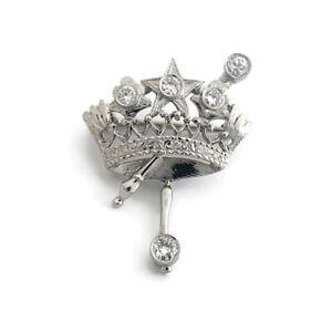 Vintage Princess Crown Diamond Brooch Pin Platinum .29 CTW, 4.16 Grams