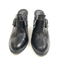 Born b.o.c Black Leather Heel Slip On Mules Sz 8