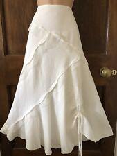 PER UNA Long White Linen Appliqué Hitch Dressy Flowy  Gypsy Boho Midi Skirt 10S