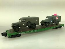 Showcase Line 50' flat with Two Army Dodge Trucks  Chained IN BOX Custom
