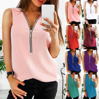 Women Zipper Sleeveless Casual Vest Top Blouse Ladies Summer Loose T Shirts Top