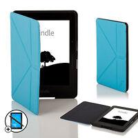 Leder Blau Smart Origami Hülle für Amazon Kindle Fahrt+Displayschutzfolie &