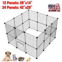 Dog Pet Playpen Heavy Duty Metal Exercise Fence Hammigrid 12/24 Panel W/Door US