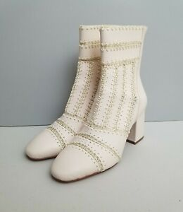 Silent D Crocheted Ankle Boots Cream Size 36 New