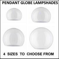White Glass Pendant Globe Lampshades. 2 Holes. (ball light sphere replacement)