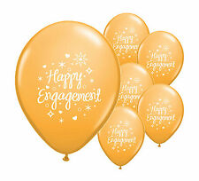 "10 x HAPPY ENGAGEMENT  GOLD 12"" HELIUM QUALITY PEARLISED BALLOONS (PA)"