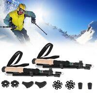 Collapsible Tri-fold Trekking Hiking Poles Carbon Fiber Walking Stick Anti-Shock