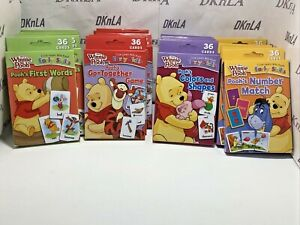 """Lot of 4 Disney """"Winnie The Pooh""""  Learning Flash Cards, First Words, Number Mat"""
