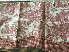 "NEW THOMASVILLE RED TOILE VALANCE,74""W X 19""L NIP"