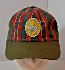 Vtg Boy Cub Girl Scouts Plaid Strapback Baseball Hat Cap Youth Adjustable