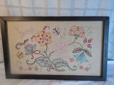 Vintage primitive floral butterfly design needlepoint sampler