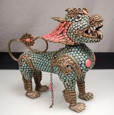 Vintage Turquoise Coral & Brass DRAGON Figurine Wine Pot -Nepal/Tibet