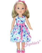 """Floral Dress with Shoes Fits Wellie Wishers 14.5"""" American Girl Clothes"""