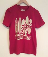 Surf Tshirt Red Beige Surf Boards Palm Trees Sm Slim Fit Cotton VGC