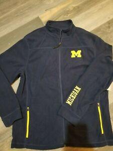 Michigan Wolverines Fleece Full Zip Jacket Men's Large nwt Free Ship