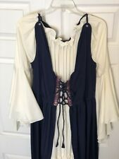 Quill & Ink Renaissance Overdress Fitted Bodice Gown W/ Chemise Under Dress L-Xl