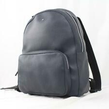 MONTBLANC MEISTERSTUCK LARGE SOFT GRAIN LEATHER BACKPACK NAVY BLUE SILVER