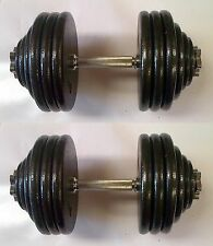 80KG Pro Dumbbell Set, 2 x 40KG, Spinlock Bars, Slim Iron Weight Discs / Plates